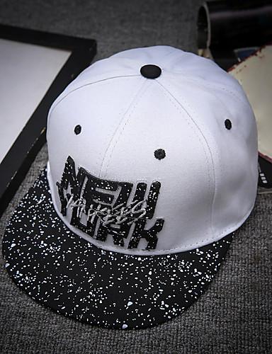 ทุกเพศ ลายตัวอักษร ฝ้าย ลายพิมพ์ หมวกเบสบอล ดวงอาทิตย์หมวก ขาว สีน้ำเงินกรมท่า