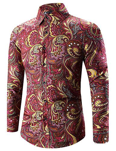 voordelige Uitverkoop-Heren Vintage / Boho Print Grote maten - Overhemd Paisley / Tribal Klassieke boord Goud / Lange mouw / Lente / Herfst