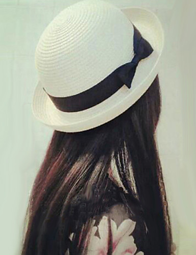 cheap Women's Accessories-Women's Polyester Straw Bucket Hat Straw Hat Sun Hat-Solid Colored Summer Fall White Fuchsia Khaki / Cute