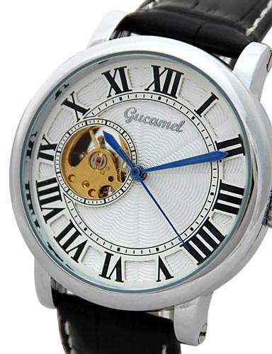 สำหรับผู้ชาย นาฬิกาแฟชั่น นาฬิกาอิเล็กทรอนิกส์ (Quartz) หนัง ดำ ระบบอนาล็อก ไม่เป็นทางการ - สีเงิน / สีขาว ทอง / สีขาว Black / Silver