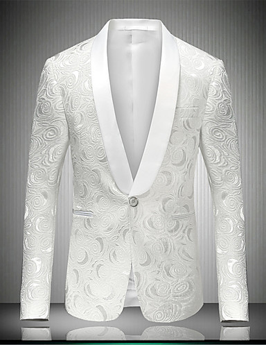 cheap Party Time-Men's Notch lapel collar Blazer Regular Party Daily Going out Streetwear Sophisticated Spring Fall Print Long Sleeve White M / L / XL / Slim