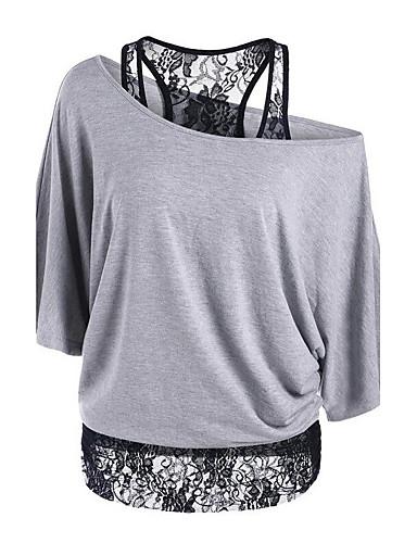 billige T-skjorter til damer-Løstsittende Løse skuldre T-skjorte Dame - Ensfarget / Lapper Sofistikert Ut på byen Svart / Blonder