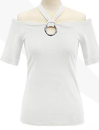 billige Dametopper-Bomull Båthals Store størrelser T-skjorte Dame - Ensfarget Svart / Sommer