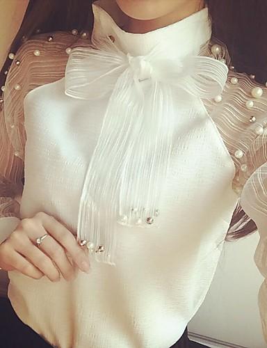 สำหรับผู้หญิง เสื้อสตรี โบว์ คอแสตนด์ สีพื้น ขาว / Sheer