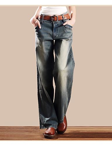 9559ae4c052 Mujer Cosecha Chic de Calle Tiro Alto Microelástico Vaqueros Pantalones
