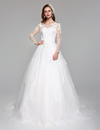 6996706fe2a Ball Gown   Princess Illusion Neck Court Train Lace   Tulle Made-To-Measure Wedding  Dresses with Appliques by LAN TING BRIDE®   Illusion Sleeve   Open Back ...