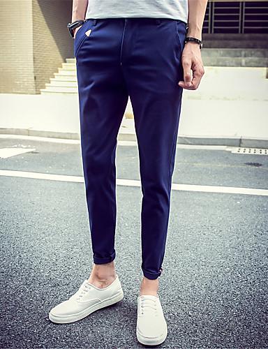 6ba10fbca Hombre Sencillo Chic de Calle Activo Tiro Medio Microelástico Chinos  Pantalones de Deporte Pantalones,Corte Recto Delgado Un Color 5735797 2018  – $18.89