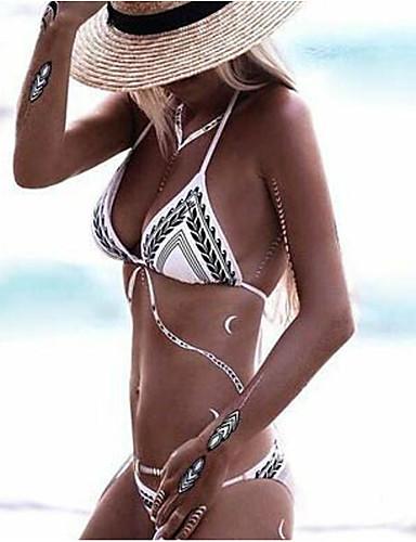 billige Bikinier og damemote-Dame Bohem Solid Grime Hvit Bukse Bikini Badetøy - Ensfarget Stribe Bomull M L XL Hvit / Lav Midje / Sommer / Strand / Tynn / Super Sexy