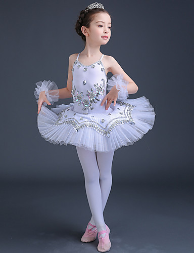cheap Ballet Dancewear-Ballet Dress Lace Crystals / Rhinestones Paillette Performance Sleeveless High Tulle Spandex