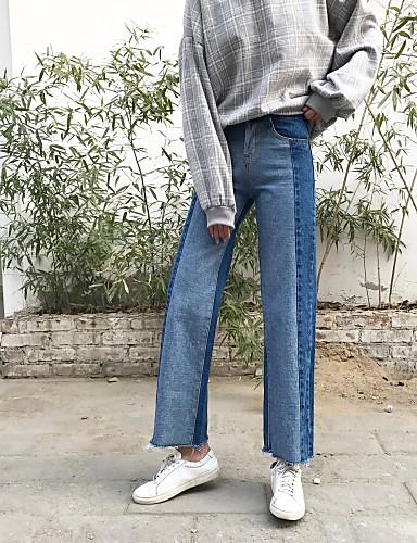 merkki Korean versio keväällä oli ohut vyötärö väljä BF tuuli osui väri  denim leveä jalka housut suorat farkut naisen 5659028 2019 – hintaan  14.69 537ca75d6f
