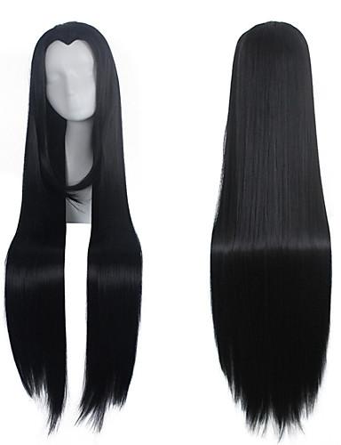 preiswerte Perücke-Synthetische Perücken Perücken Glatt Gerade Perücke Lang Sehr lang Natürlich Schwarz Synthetische Haare Damen Mittelscheitel Schwarz