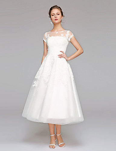 cheap Wedding Dresses-Ball Gown Bateau Neck Tea Length Lace Over Tulle Short Sleeve Formal / Casual Illusion Detail / Cute Wedding Dresses with Lace / Appliques 2020 / Illusion Sleeve