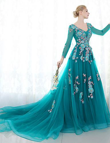 29f9915b10b Plesové šaty   Princess Do V Velmi dlouhá vlečka Tyl Formální večer Šaty s  Krajka podle 5666221 2019 –  229.99