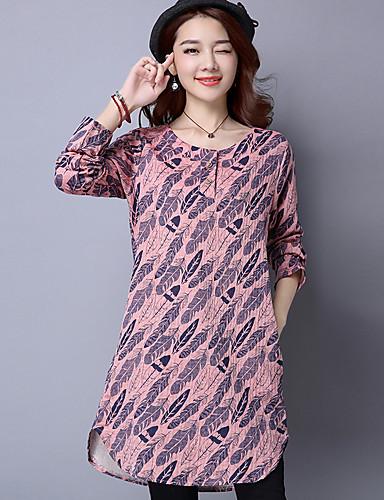 ab5b47b6a781 signere 2017 våren ny utskrift stor størrelse kvinner amp   39  s langermet  kjole skjorte skjørt fritid 5710684 2019 –  12.99