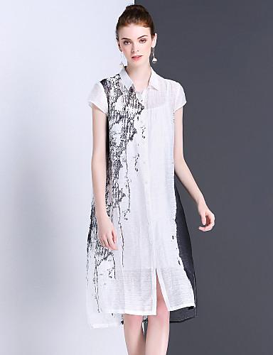 eaeafc683 Mujer Camisa Vestido Casual Diario Simple Vintage