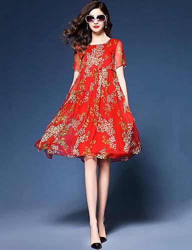 1b46e4cb15f Women s Going out Beach Boho Street chic Loose Chiffon Dress - Floral Red