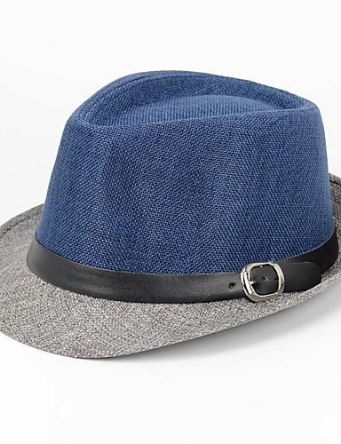 billige Hatter til herrer-Herre Fedora Lapper Lin Navyblå Grå Kakifarget