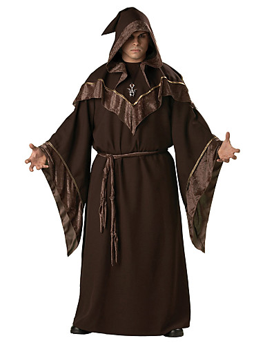 cheap Halloween & Carnival Costumes-Wizard Pants Cosplay Costume Cloak Cape Adults' Men's Christmas Halloween Carnival Festival / Holiday Dark Brown Carnival Costumes Fashion / Top
