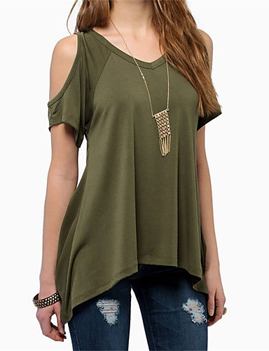preiswerte Chiffon-Tops-Damen Solide Strand T-shirt, V-Ausschnitt Schwarz / Sommer
