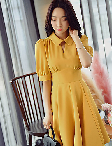 3f14aaf99c98 Dame I-byen-tøj   Arbejde Vintage   Gade   Sofistikerede Skede   Swing    Skjorte Kjole - Ensfarvet