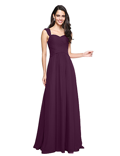 cheap Bridesmaid Dresses-A-Line Straps Floor Length Chiffon Bridesmaid Dress with Criss Cross / Ruched by LAN TING BRIDE®