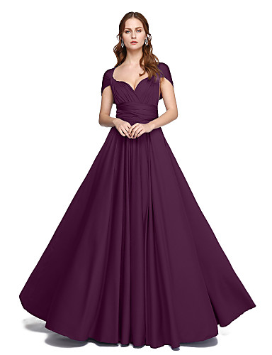 cheap Bridesmaid Dresses-Product Sample A-Line / Ball Gown Straps Floor Length Jersey Bridesmaid Dress with Criss Cross / Pleats by LAN TING BRIDE® / Convertible Dress