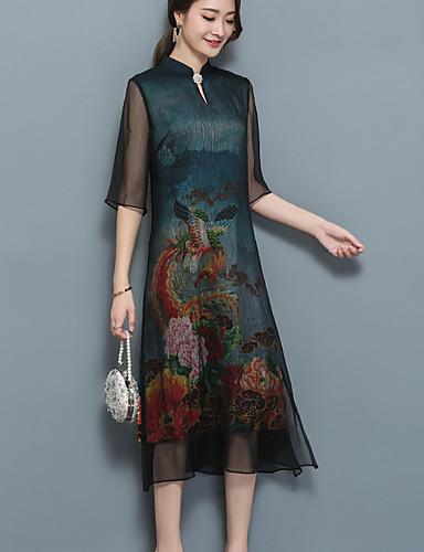 ff997e4fb6 Mujer Corte Ancho Vestido Casual Diario Tallas Grandes Vintage  Simple