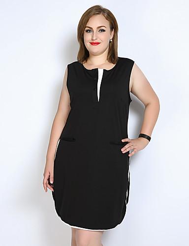 voordelige Grote maten jurken-Dames Grote maten Ruimvallend / Recht / Zwart en wit Jurk - Kleurenblok Tot de knie