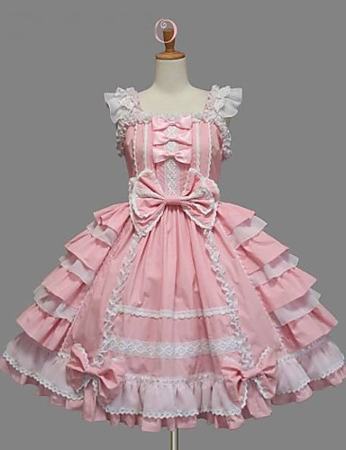 cheap Lolita Dresses-Princess Sweet Lolita Ruffle Dress Dress JSK / Jumper Skirt Women's Girls' Cotton Japanese Cosplay Costumes Plus Size Customized Pink Ball Gown Solid Colored Bowknot Sleeveless Knee Length