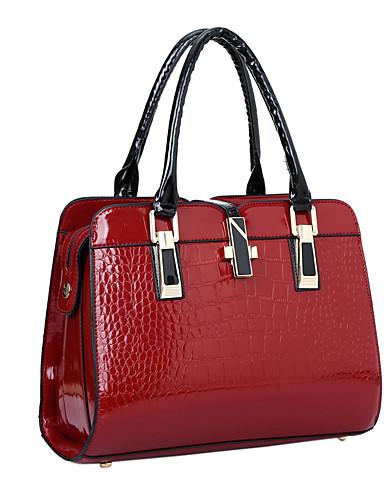 preiswerte Elegante Damen-Handtaschen-Damen Lackleder Tasche mit oberem Griff Solide Schwarz / Wein / Blau