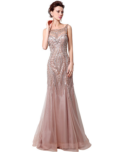 cheap Evening Dresses-Mermaid / Trumpet Sparkle & Shine Formal Evening Dress Bateau Neck Sleeveless Floor Length Tulle with Beading 2020