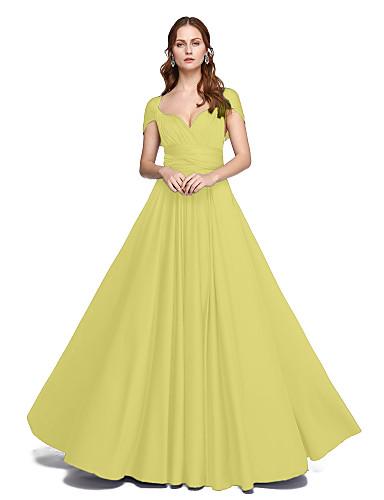 billige Brudepikekjoler-A-linje Gulvlang Jersey Brudepikekjole med Kryssdrapering / Plissert av LAN TING BRIDE® / Konvertibel kjole