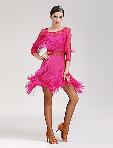 cheap Latin Dancewear-Latin Dance Dress Women's Performance 3/4 Length Sleeve Natural Spandex