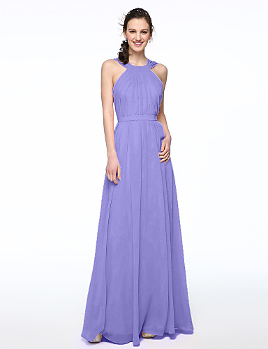 cheap Bridesmaid Dresses-A-Line Jewel Neck / Cross Front Floor Length Chiffon Bridesmaid Dress with Sash / Ribbon / Pleats by LAN TING BRIDE®