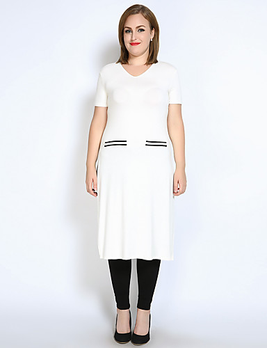 billige Dametopper-Store størrelser T-skjorte Dame - Fargeblokk, Delt Aktiv
