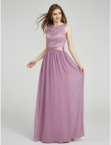 ราคาถูก Bridesmaid Dresses-ชีท / คอลัมน์ Bateau Neck ลากพื้น ชิฟฟอน / Lace Lace เพื่อนเจ้าสาวชุด กับ ลูกไม้ / ริบบิ้น โดย LAN TING BRIDE®