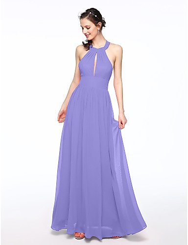cheap Bridesmaid Dresses-A-Line Jewel Neck Floor Length Chiffon Bridesmaid Dress with Pleats by LAN TING BRIDE®