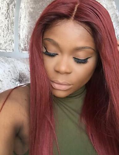 povoljno Perike s ljudskom kosom-Remy kosa Full Lace Perika stil Brazilska kosa Ravan kroj Perika 130% Gustoća kose s dječjom kosom Ombre Prirodna linija za kosu Afro-američka perika 100% rađeno rukom Žene Kratko Srednja dužina Dug