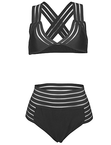 billige Dametopper-Dame Høy Midje Sporty Med stropper Svart Trekant Cheeky Bikini Badetøy - Ensfarget Kryss M L XL Svart