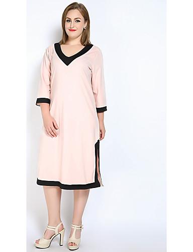 levne Šaty velkých velikostí-Dámské Větší velikosti Bavlna Volné / Shift / Tričko Šaty - Barevné bloky, Rozparek Midi Do V