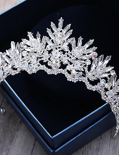 voordelige Koninklijke trouwjurken-Kristal / Strass / Legering tiaras / hikinauhat / Hoofddeksels met Bloemen 1pc Bruiloft / Speciale gelegenheden / ulko- Helm / Hiusnauha