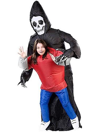 povoljno Maske i kostimi-Skeleton / Lubanja Grim Reaper Cosplay Nošnje Rekviziti za Noć vještica Povorka maski Muškarci Žene Filmski Cosplay Hula-hopke / Onesie Ventilator Halloween Karneval Dječji dan Poliester