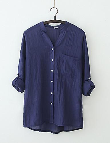 billige Dametopper-V-hals Bluse Dame - Ensfarget Vintage Ut på byen Hvit
