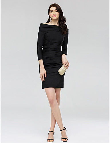 28677487079d9d Sheath / Column Off Shoulder Short / Mini Jersey Little Black Dress Cocktail  Party Dress with Ruched by TS Couture® 5814204 2019 – $89.99