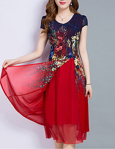 cheap Floral Patterns Dresses-Women's Plus Size Going out Chiffon Dress - Floral Layered Print Summer Royal Blue Red M L XL XXL