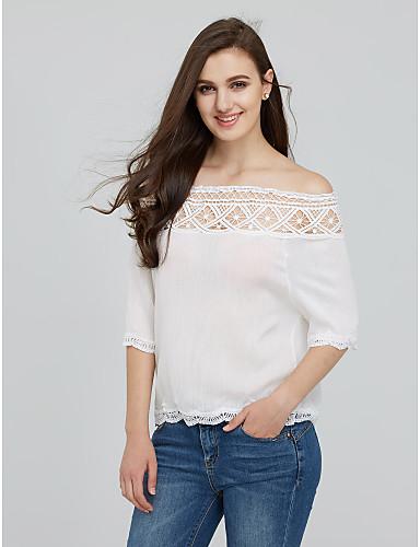 edeb3bf6435e Γυναικεία T-shirt Μονόχρωμο Χαμόγελο Δαντέλα Βαμβάκι Spandex 5078951 2019 –   11.69