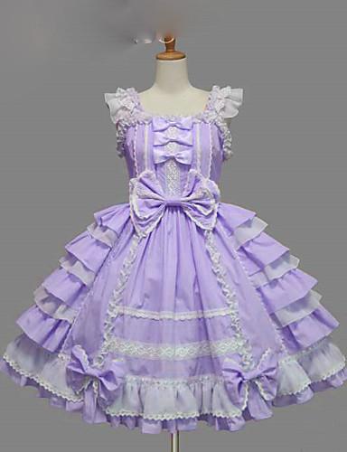 cheap Lolita Dresses-Princess Sweet Lolita Summer Dress JSK / Jumper Skirt Women's Girls' Cotton Japanese Cosplay Costumes Plus Size Customized Purple / Yellow / Blue Ball Gown Solid Colored Bowknot Cap Sleeve Short