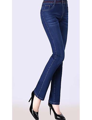 8ce608eac9 Mujer Sencillo Tiro Alto Microelástico Vaqueros Pantalones