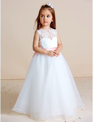 8719646c9af Ball Gown Floor Length Flower Girl Dress - Lace   Organza Sleeveless Jewel  Neck with Bow(s)   Sash   Ribbon by LAN TING BRIDE®   See Through 5805573  2019 – ...