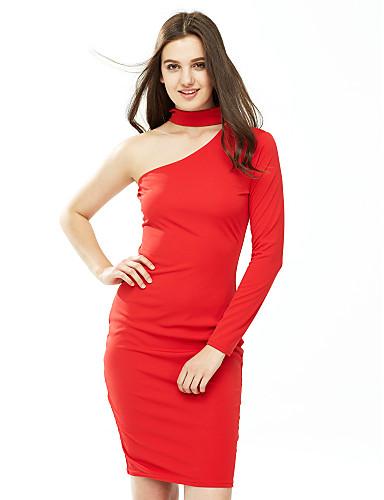 levne Sexy šaty-Dámské Klub Bavlna Pouzdro Šaty - Jednobarevné Délka ke kolenům Jedno rameno